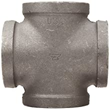 Anvil Malleable Iron Pipe Fitting, Class 150, Cross, NPT Female, Black Finish