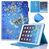 New iPad 9.7 Inch 2017 2018/iPad Air 2/iPad Air Case - Monstek Auto Wake/Sleep Multi-Angle Viewing Smart Stand Wallet Protective Case Cover for iPad 9.7 Inch 2017,iPad Air 1 2,Gold Butterflies (Color: Gold Butterflies)