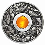 2018 TV Good Luck Rotating Charm-Koi Fish 1oz Silver Coin Antiqued with yellow topaz $1 Perfect Uncirculated