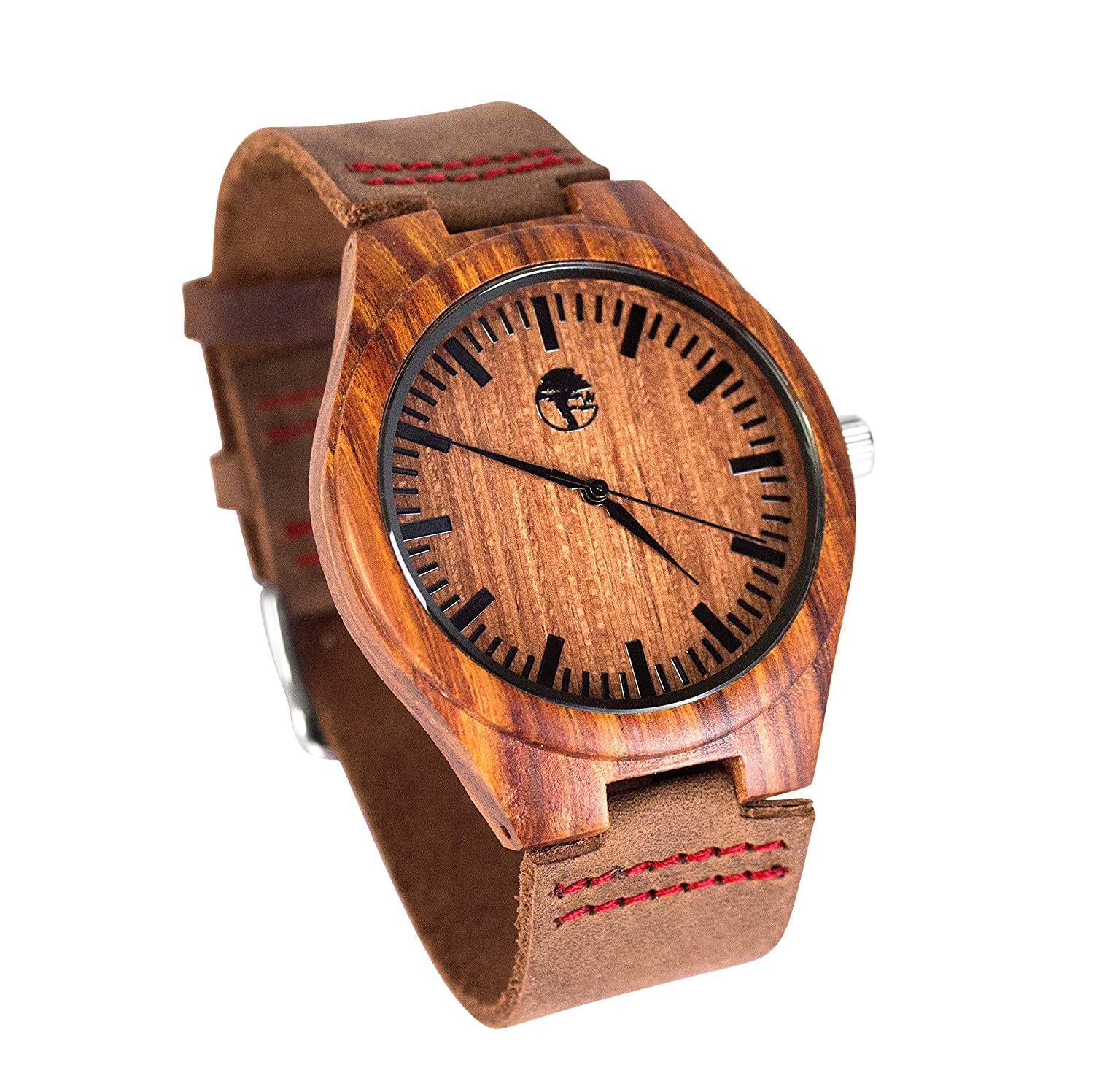 Viable Harvest - Mens Wood Watch - Wooden Bamboo Dial - Sandalwood Bezel - Genuine Leather - Gift box