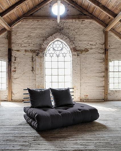 KARUP - SHIN SANO, pratico divano e letto, futon grigio scuro su struttura in legno tinto nero