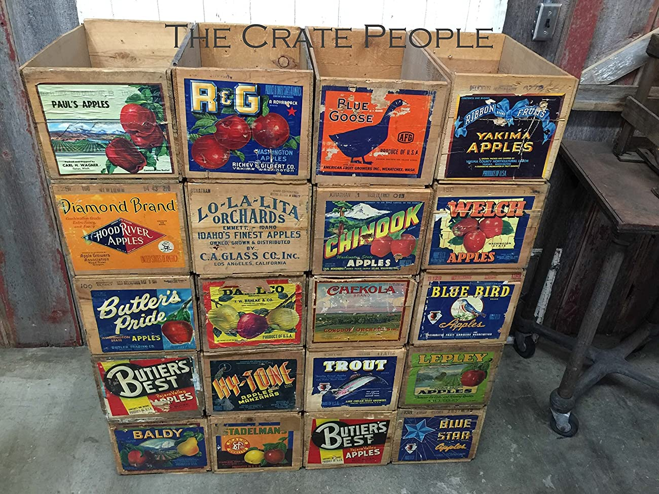 Vintage Wood Apple Crates circa 1940's - 50's - Colorful Old Labels HUNDREDS in stock	 2