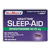ValuMeds Nighttime Sleep Aid (48-Softgels) Diphenhydramine Hydrochloride HCl, 25 mg   Helps Men and Women Fall Asleep Fast (Compare to Active Ingredient in ZzzQuil Liquicaps)