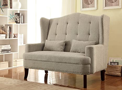 Furniture of America Mikaela Romantic Wing-Back Upholstered Love Seat, Beige