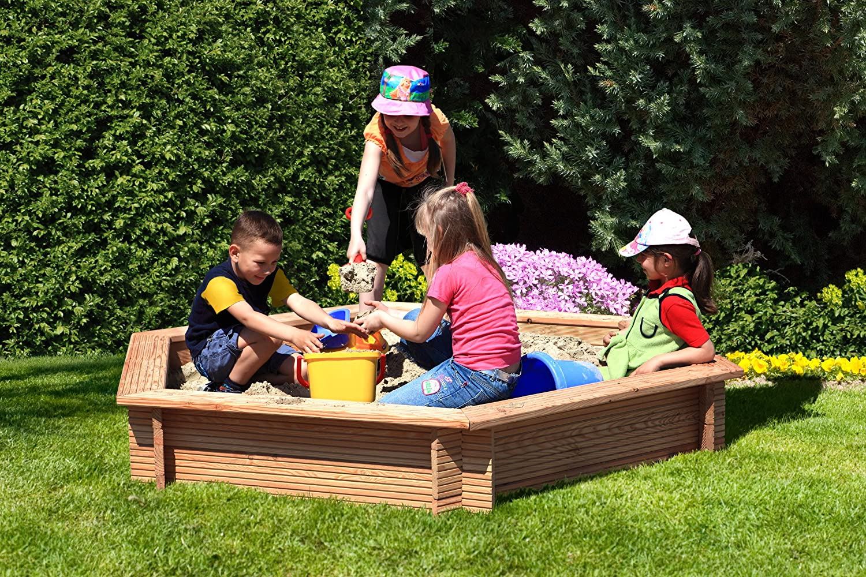 Gartenpirat Sandkasten 6-eckig aus Holz Lärche unbehandelt Ø 230 cm mit Plane günstig bestellen