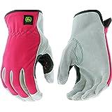 West Chester John Deere JD00016 Split Cowhide Leather Palm Work Gloves: Pink, Women's Small/Medium, 1 Pair (Color: Pink/Black, Tamaño: Women's Small/Medium)