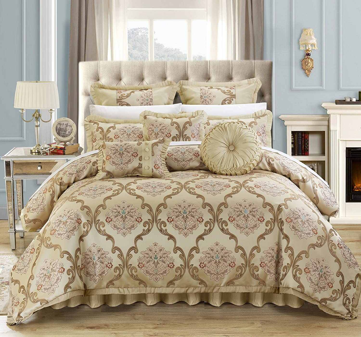 Chic Home 9 Piece Aubrey Decorator Upholstery Quality Jacquard Scroll Fabric Bedroom Comforter Set & Pillows Ensemble, Queen, Beige