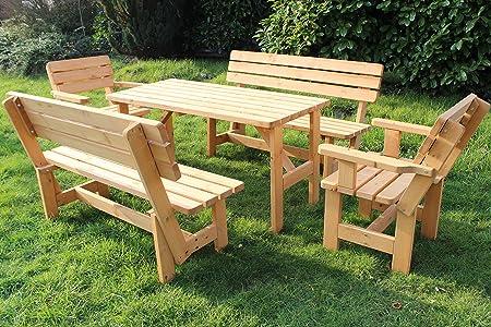 Garten Set nr 1 Sitzgruppe Lounge Set Sitzgarnitur Gartengarnitur Gartenmöbel Tisch Bank 1x Tisch + 2 x Bänke + 2 x Sessel (GARTEN SET 1)