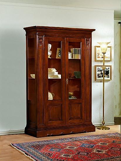 Vetrina in legno finitura noce a 2 porte 145x48 H.212