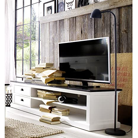 HALIFAX White Mahogany Media Center and TV Stand, CD and DVD storage offering 2 drawers and 2 shelves in distressed finish (WHITE/BLACK TOP DISTRESSED)