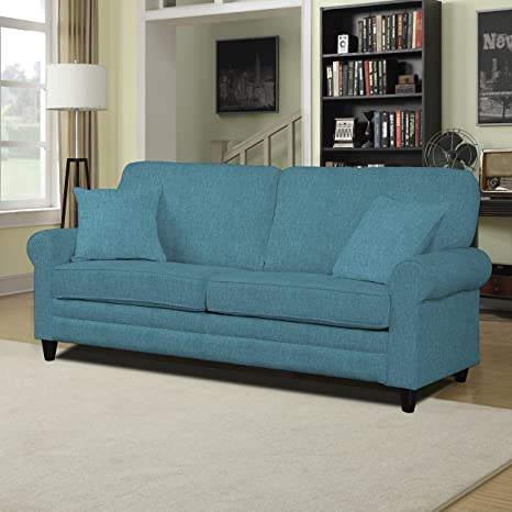 Portfolio Bradley Caribbean Blue Linen Sofast. Fits Perfectly to Any Kind of Living Room. Good Value for Money. Relaxing Sofa.