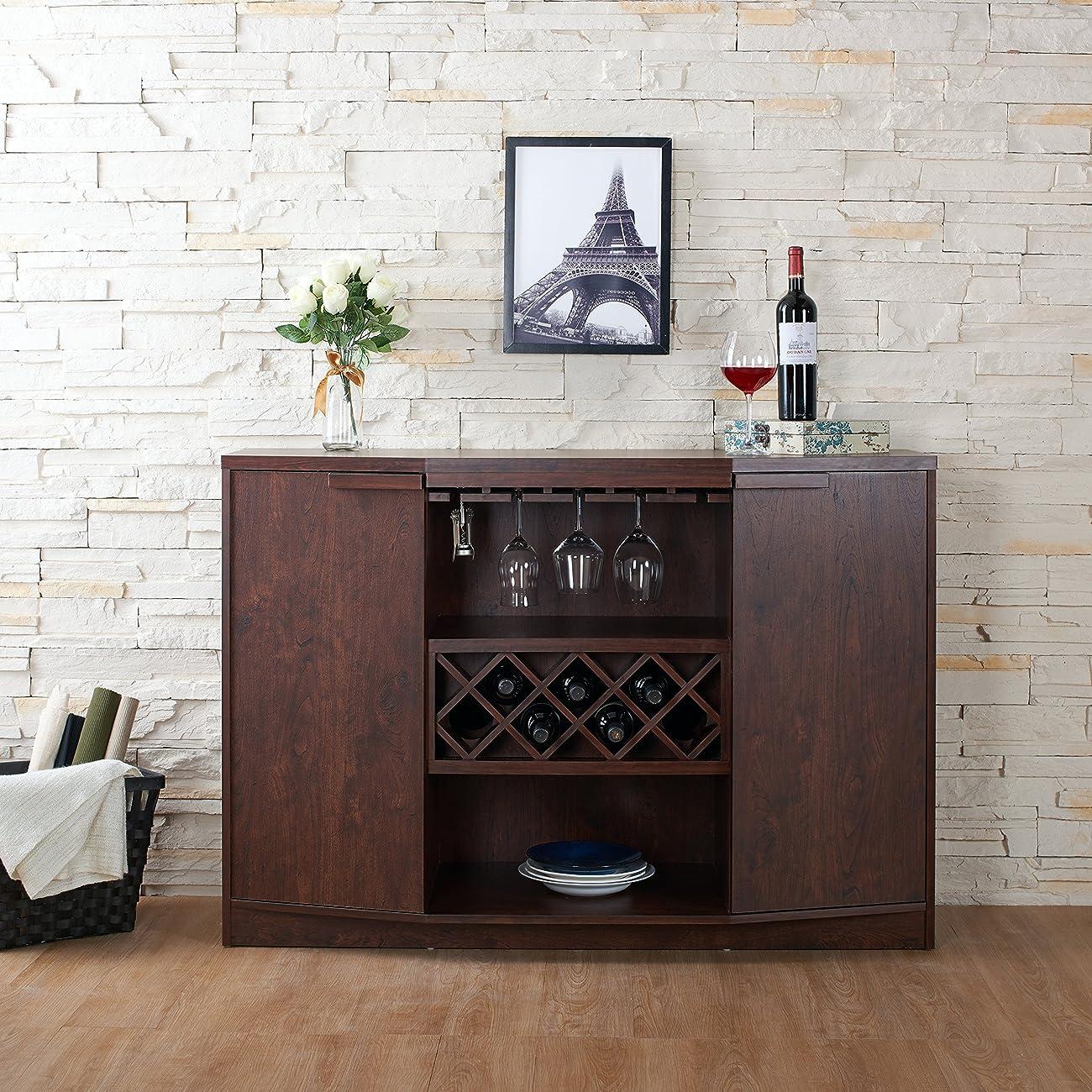 ioHOMES Annadel Wine Cabinet Buffet, Vintage Walnut 1