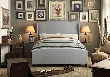 Millbury Home Chavelle Linen Gray Wings Upholstery Bed (Queen Size)