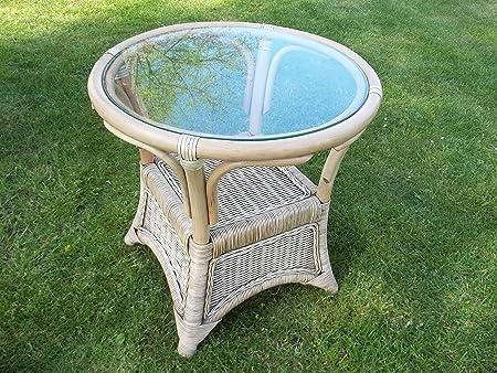 """'Tavolino da salotto, tavolino, tavolo in rattan con vetro, antico prelavate """""""