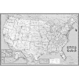 CoolOwlMaps United States Wall Map Black & White Design - Poster Size 36x24 Rolled Paper