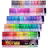 Gelmushta Gel Pens 160 Unique Colors (No Duplicates) Set for Adult Coloring Books Drawing with Case