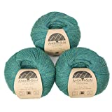 100% Baby Alpaca Yarn (Weight #1) LACE - Set of 3 Skeins 150 Grams Total- Luxurious and Caring Soft for Knitting, Crocheting and Any lace Weight Project - Green Jade Heather (Color: Green Jade Heather, Tamaño: #1 Lace)