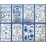 Aleks Melnyk #42 Metal Stencils/Flowers and Vines, Ornament, Vintage, Finds Stencils Templates for Painting on Wood, on Walls/Decorating Airbrush, Furniture Crafts (Color: Silver, Tamaño: 4 x 7 inch (10.1 x 17.7 ?m))