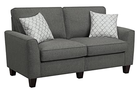 "Serta RTA Everett Collection, 61"" Fabric Loveseat Sofa, Alexandria Grey, CR46232P"