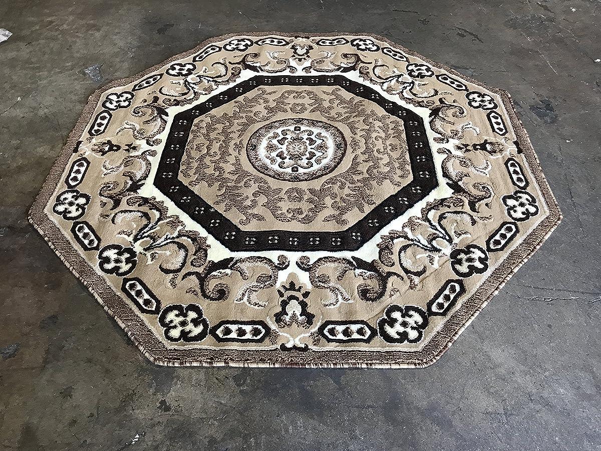 Traditional Octagon Persian Area Rug Beige Design 101 (5 Feet 3 Inch X 5 Feet 3 Inch )