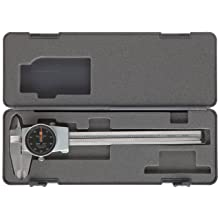 "Brown & Sharpe 599-579-5 Dial Caliper, Stainless Steel, Black Face, 0-6"" Range, +/-0.001"" Accuracy, 0.001"" Resolution, Meets DIN 862 Specifications"