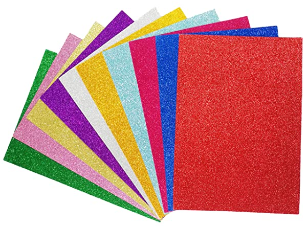 Glitter Cardstock Paper-A4 Glitter Paper for Wrapping-Scrapbook-DIY Craft Paper Project-Wedding Birthday Party Decoration-20PCS per Pack- Lolifun (Color: Multicolor, Tamaño: A4 Size)