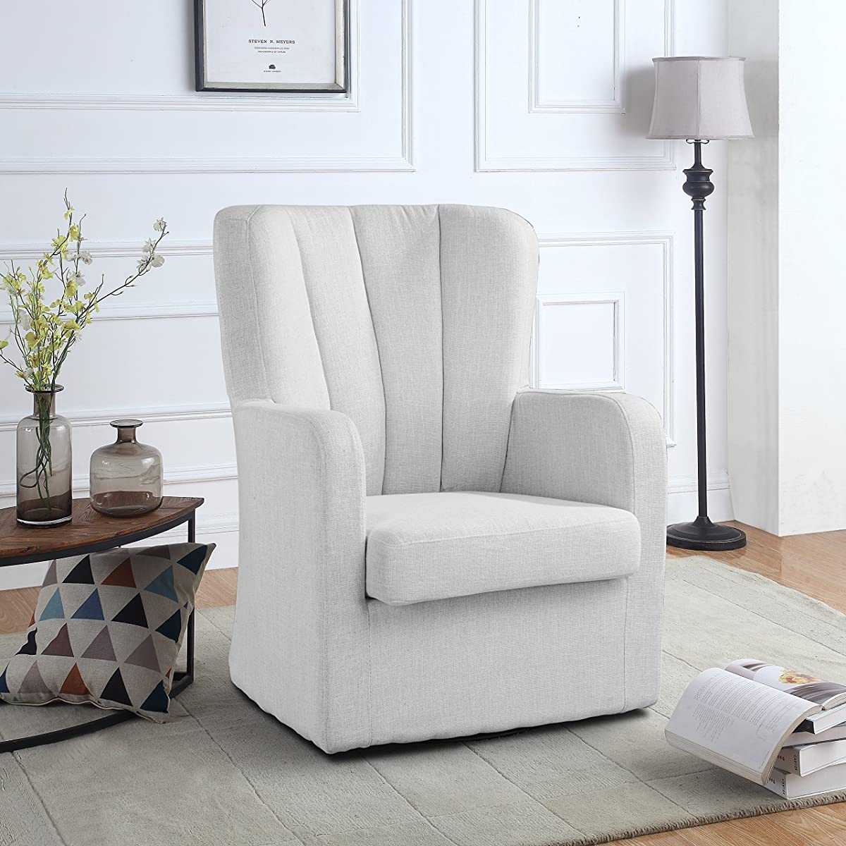 Modern Swivel Armchair, Rotating Accent Chair for Living Room with ...