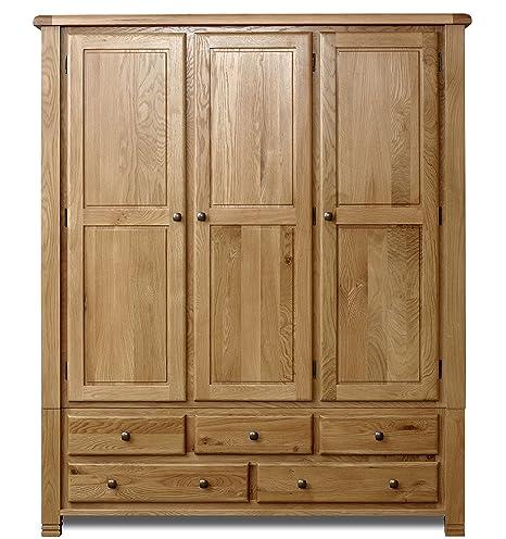 Birlea Woodstock 3-Door 5-Drawer Wardrobe - Pine, Oak