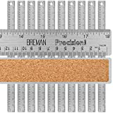 Breman Precision Stainless Steel Metal Rulers I Straight Edge Rulers with Inch and Metric Graduations for School Office Engineering Woodworking I Flexible with Non-Slip Cork Back I 18-Inch 10-Pack (Color: 18