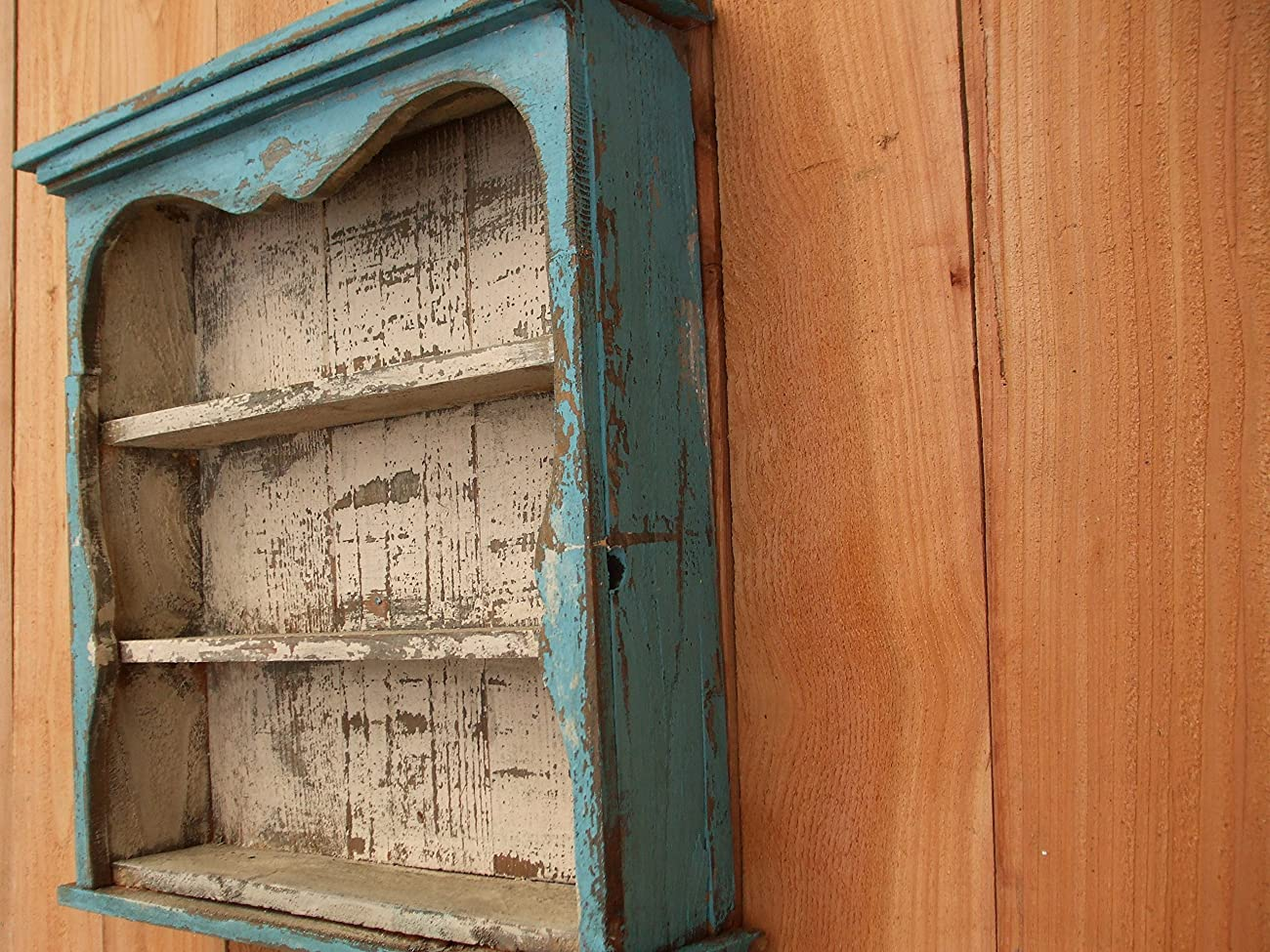 Shabby Chic Style Blue Wall Shelf, Distressed Turquoise, Book Shelf, French Country, Shadow Box, Display Case, CEDAR, HANDMADE	 1