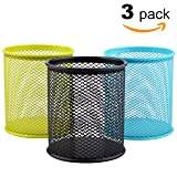 MaxGear Mesh Pen Holders Metal Pencil Cup Holder Pen Organizer Pencil Holder for Desk Office Pencil Holders 3 Pack for 3 Colors: Green/Blue/Black
