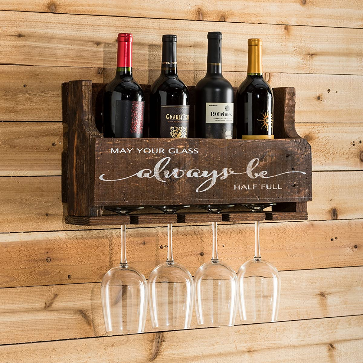 Del Hutson Designs The Little Elm Wine Rack W/Quote May Your Glass Alway Be  Half ...