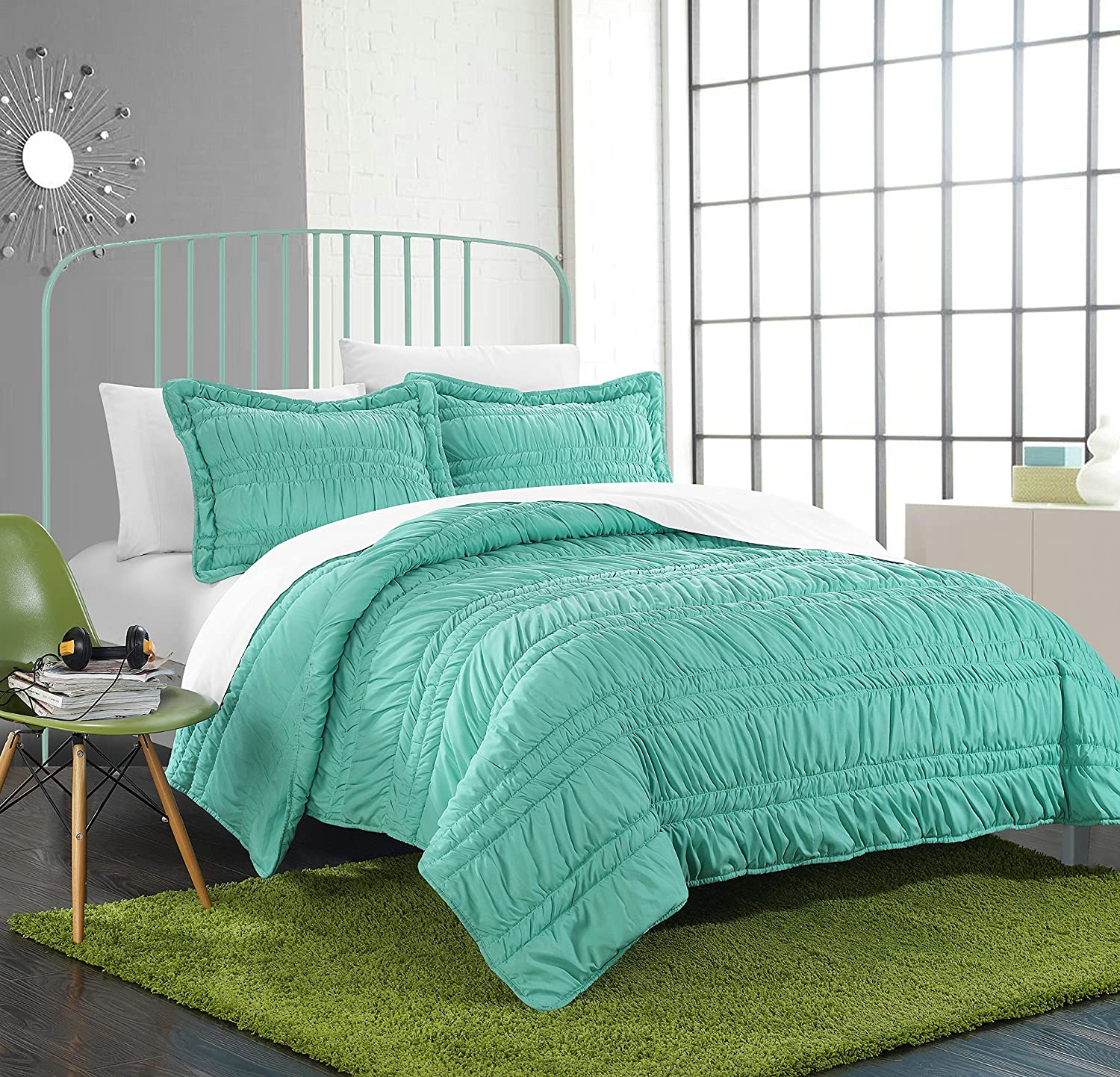 Chic Home 3 Piece Dreamer Super Soft Microfiber Pleated Ruffled Technique Quilt Set, Full, Turquoise