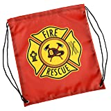Aeromax Firefighter Drawstring Backpack Red, 6 Pack Drawstring Backpack (Color: Red)