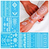 White Henna Temporary Tattoos for Women Teens Girls - 9 Sheets White Lace Fake Stickers - Bride Wedding Tattoo Designs Jewelry Tattoos - 100+ White Flash Realistic Waterproof Transfer