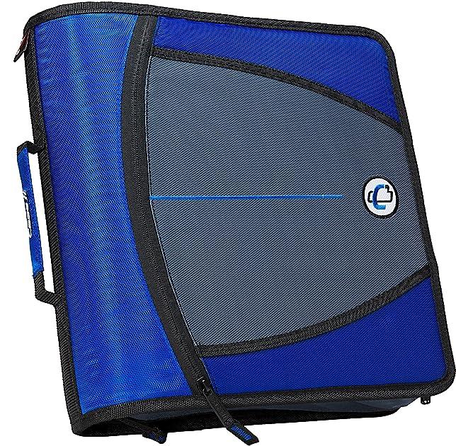 Case-it Mighty Zip Tab 3-Inch Zipper Binder, Blue, D-146