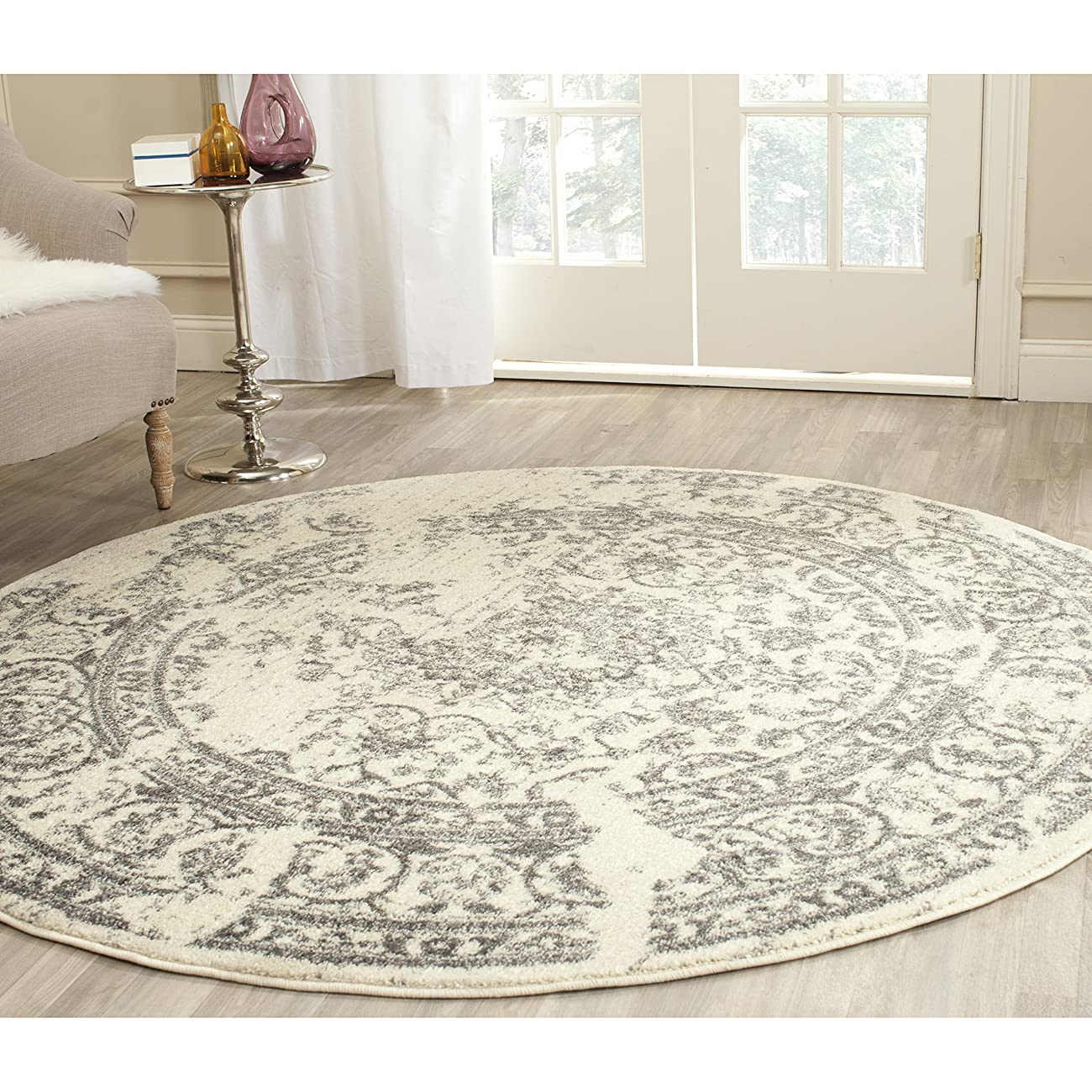 Safavieh Adirondack Collection ADR101B Ivory and Silver Oriental Vintage Round Area Rug (8' Diameter) 0