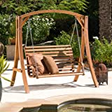Great Deal Furniture Marlette Outdoor Wood Swinging Bench and Base