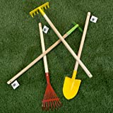 Hey!Play! 80-PP-GT Kid Garden Tool Set with Child Safe Shovel Hoe and Leaf Rake 4 Piece Kit with Long Wood Handles for Boys and Girls, Red/Yellow (Color: Red/Yellow)