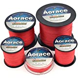Aorace Braid Fishing Line 10LB Strong and Abrasion Resistant 300M Fiber Material Fishing Line Red Advanced Superline (Color: Red, Tamaño: (300M 328yds) 10LB/0.14MM/4.5KG)