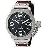 TW Steel Men's CS26 Stainless Steel Watch with Brown Leather Band (Color: black)