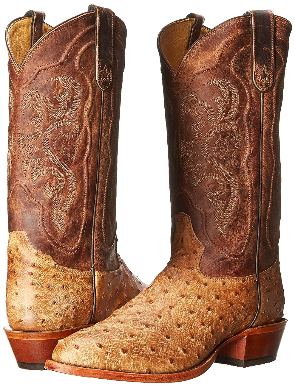 Tony Lama Men's Antique Tan Vintage FQ Ostrich Western Boot 6