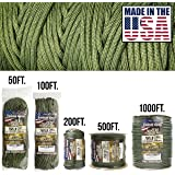 TOUGH-GRID 750lb Camo Green Paracord / Parachute Cord - Genuine Mil Spec Type IV 750lb Paracord Used by the US Military (MIl-C-5040-H) - 100% Nylon - Made In The USA. 200Ft. - Camo Green (Color: Camo Green, Tamaño: 200Ft. (WOUND ON TUBE))
