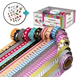 ARTIT Washi Tape Set 16 Extra Long (33 Foot) Decorative Rolls Craft Duct Masking Tapes Scrapbooking DIY Gift-Wrapping Glitter Patterned Solid Ultra Sticky Adhesive Includes 4 Bonus Sticker Pages (Tamaño: 16 rolls)