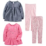 Simple Joys by Carter's Toddler Girls 4-Piece Playwear Set, Chambray, 3T (Color: Chambray, Tamaño: 3T)