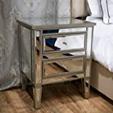 Crawford Vintage Mirror Two-Drawer End Table Casual Contemporary Mirrored by CapMart (Color: Silver)