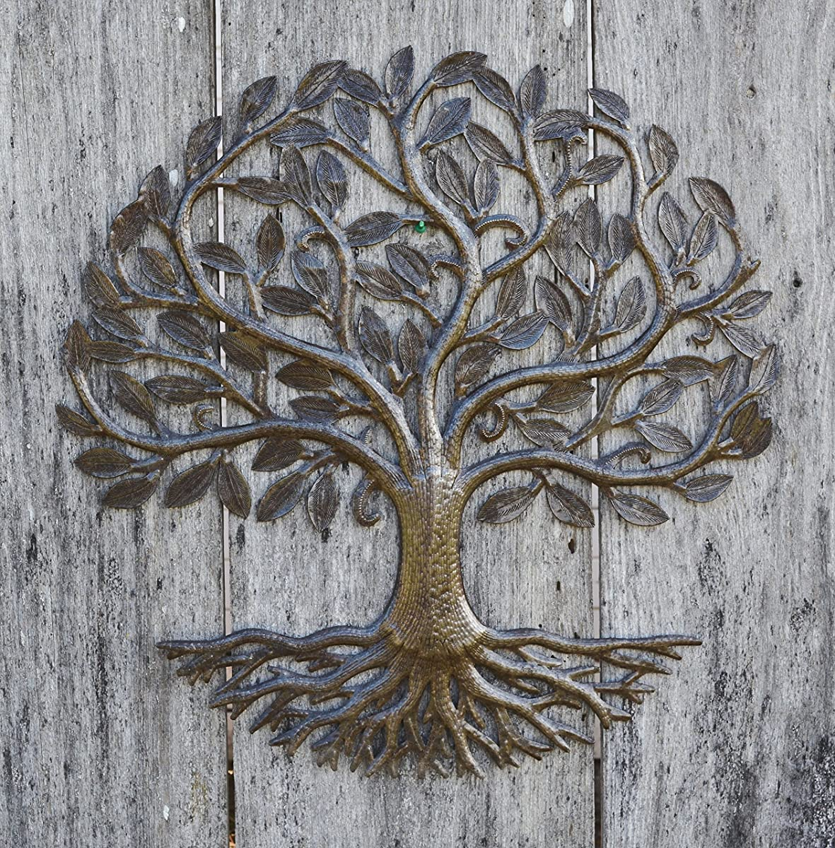 "Metal Wall Art, Haiti, Tree of Life, Recycled Steel Garden Art, Fair Trade, 23"" X 23"""