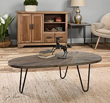 Modern Oval Recycled Wood Iron Coffee Table | Abstract Minimalist