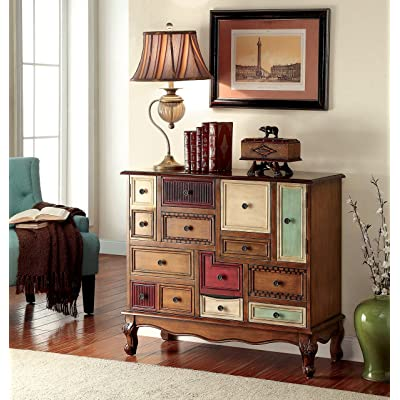 Furniture of America Zeppo Vintage Style Storage Chest, Antique Walnut