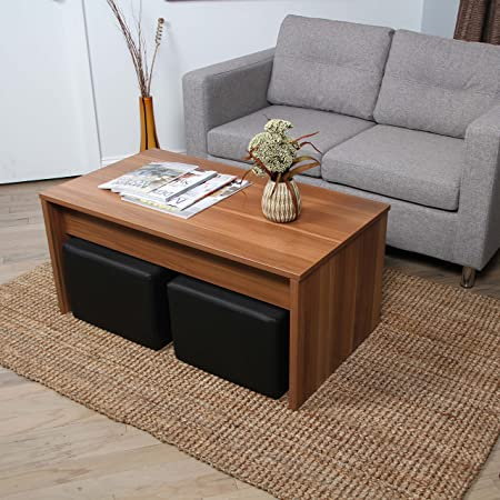 Alectra Walnut Lift-Top Rectangular Coffee Table